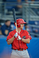 Williamsport Crosscutters second baseman Brian Mims (22) on deck during a game against the Batavia Muckdogs on August 19, 2017 at Dwyer Stadium in Batavia, New York.  Batavia defeated Williamsport 11-1 in five innings due to rain.  (Mike Janes/Four Seam Images)