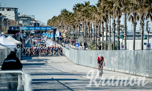 Suisse champion Stefan Küng (SUI/Groupama - FDJ) trying to bridge across solo to the breakaway group ahead<br /> <br /> Stage 6 from Castelraimondo to Lido di Fermo (169km)<br /> <br /> 56th Tirreno-Adriatico 2021 (2.UWT) <br /> <br /> ©kramon
