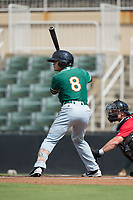 Luis Pintor (8) of the Greensboro Grasshoppers at bat against the Kannapolis Intimidators at Kannapolis Intimidators Stadium on August 13, 2017 in Kannapolis, North Carolina.  The Grasshoppers defeated the Intimidators 4-1 in 10 innings in the completion of a game suspended on August 12, 2017.  (Brian Westerholt/Four Seam Images)