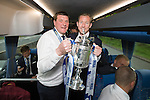 St Johnstone v Dundee United....17.05.14   William Hill Scottish Cup Final<br /> Manager Tommy Wright and Frazer Wright with the Scottish Cup on the journey back to Perth<br /> Picture by Graeme Hart.<br /> Copyright Perthshire Picture Agency<br /> Tel: 01738 623350  Mobile: 07990 594431