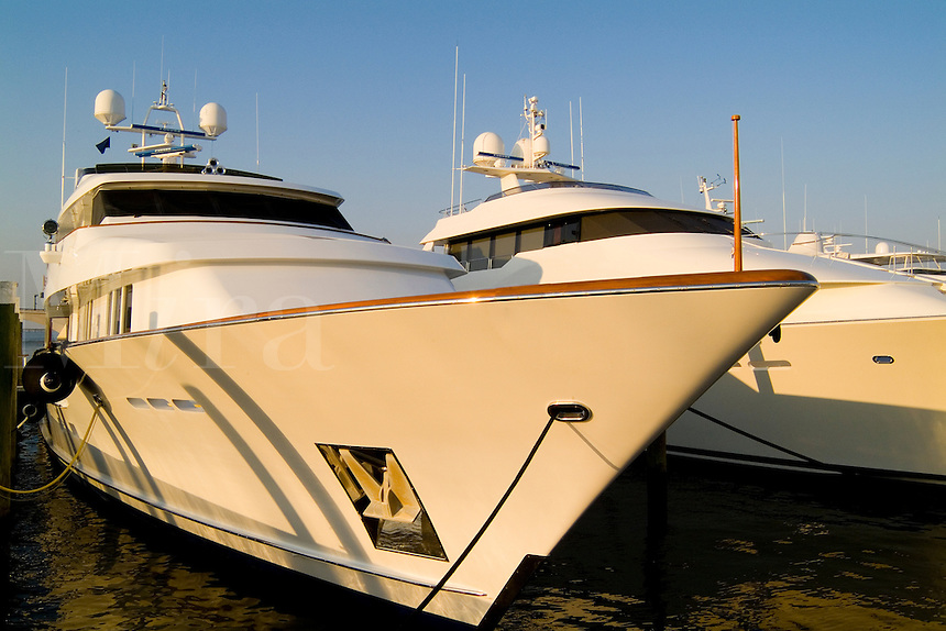 Expensive yachts at Palm Beach Harbor Yacht Club in Palm Beach Florid