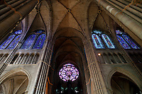 The upper windows and roof of the north side of the cathedral of Notre-Dame de Reims, Reims, France, 11 November 2015. Made in 1250, the round stained glass window was dismantled and taken down temporarily during World War I to preserve it.
