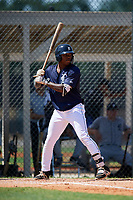 GCL Tigers East shortstop Kelvin Smith (4) at bat during a game against the GCL Tigers West on August 8, 2018 at Tigertown in Lakeland, Florida.  GCL Tigers East defeated GCL Tigers West 3-1.  (Mike Janes/Four Seam Images)