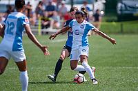 Kansas City, MO - Wednesday August 16, 2017: Becca Moros, Marta Vieira Da Silva during a regular season National Women's Soccer League (NWSL) match between FC Kansas City and the Orlando Pride at Children's Mercy Victory Field.