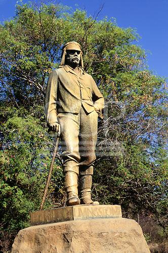 Victoria Falls, Zambia/Zimbabwe, Africa. Statue of David Livingstone.