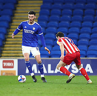 16th March 2021; Cardiff City Stadium, Cardiff, Glamorgan, Wales; English Football League Championship Football, Cardiff City versus Stoke City; Kieffer Moore of Cardiff City controls the ball Strictly Editorial Use Only. No use with unauthorized audio, video, data, fixture lists, club/league logos or 'live' services. Online in-match use limited to 120 images, no video emulation. No use in betting, games or single club/league/player publications