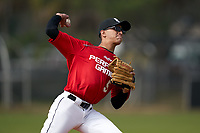Pitcher Fernando Díaz Feliciano (5) during the Perfect Game National Underclass East Showcase on January 23, 2021 at Baseball City in St. Petersburg, Florida.  (Mike Janes/Four Seam Images)