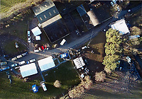 Pictured: Aerial handout picture of the farm house in Llngammarch Wells, Wales, UK <br /> Re: Dyfed Powys Police press conference at Cardiff Bay Police Station over a house fire that killed a father and his children in Llangammarch Wells, mid Wales, UK. <br /> David Cuthbertson, 68, and the children aged between four and 11 are missing, presumed dead, following the blaze.<br /> Three other children aged 10, 12 and 13 escaped and were taken to hospital.<br /> Dyfed-Powys Police said they have been released and are being cared for by family.
