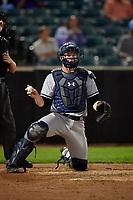 Staten Island Yankees catcher Josh Breaux (28) during a game against the Aberdeen IronBirds on August 23, 2018 at Leidos Field at Ripken Stadium in Aberdeen, Maryland.  Aberdeen defeated Staten Island 6-2.  (Mike Janes/Four Seam Images)