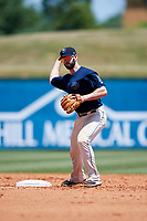 Mobile BayBears second baseman Andrew Daniel (13) throws to first base during a game against the Pensacola Blue Wahoos on April 26, 2017 at Hank Aaron Stadium in Mobile, Alabama.  Pensacola defeated Mobile 5-3.  (Mike Janes/Four Seam Images)