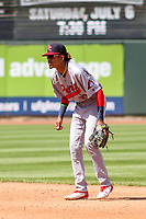 Peoria Chiefs shortstop Delvin Perez (32) during a Midwest League game against the Cedar Rapids Kernels on May 26, 2019 at Perfect Game Field in Cedar Rapids, Iowa. Cedar Rapids defeated Peoria 14-1. (Brad Krause/Four Seam Images)