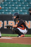 Aberdeen IronBirds catcher Alfredo Gonzalez (19) waits to receive a pitch during a game against the Staten Island Yankees on August 23, 2018 at Leidos Field at Ripken Stadium in Aberdeen, Maryland.  Aberdeen defeated Staten Island 6-2.  (Mike Janes/Four Seam Images)
