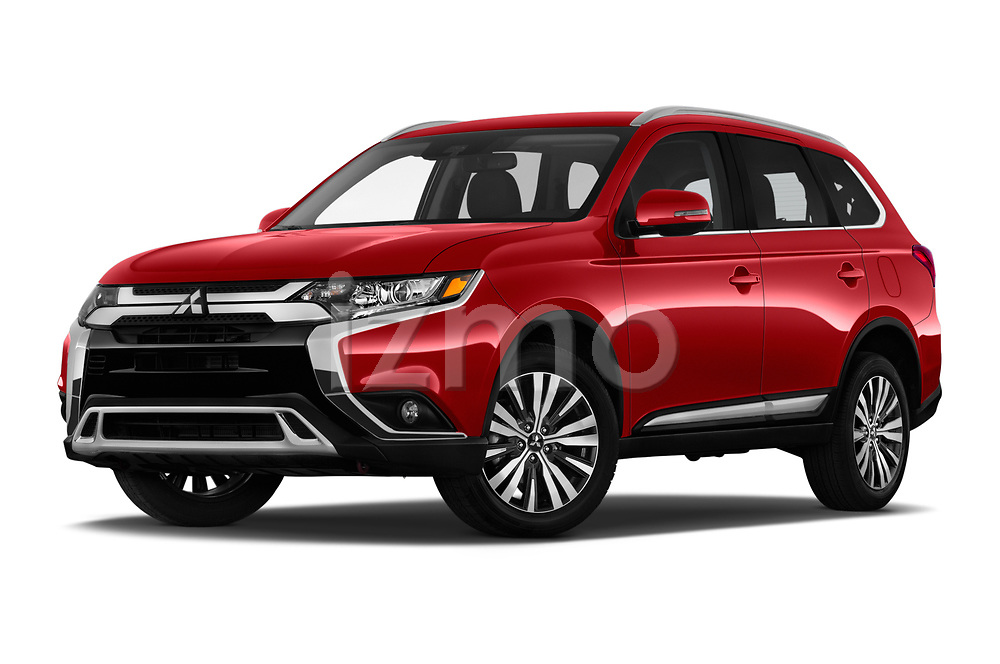 Stock pictures of low aggressive front three quarter view of 2020 Mitsubishi Outlander SEL 5 Door SUV Low Aggressive