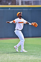 University of Tennessee left fielder Alerick Soularie (1) calls for a fly ball during a game against Western Illinois at Lindsey Nelson Stadium on February 15, 2020 in Knoxville, Tennessee. The Volunteers defeated Leathernecks 19-0. (Tony Farlow/Four Seam Images)