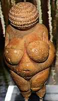 EC7NA9 The Venus of Willendorf (replica), one of the early female figurines. Small female figurines are found across Europe from France to Russia about 28,000-20,000 years ago.