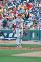 Luke Voit (26) of the Memphis Redbirds on defense against the Salt Lake Bees at Smith's Ballpark on July 24, 2018 in Salt Lake City, Utah. Memphis defeated Salt Lake 14-4. (Stephen Smith/Four Seam Images)