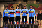 Belgian team at sign on for the start of the Women Elite Road Race of the UCI World Championships 2019 running 149.4km from Bradford to Harrogate, England. 28th September 2019.<br /> Picture: Eoin Clarke | Cyclefile<br /> <br /> All photos usage must carry mandatory copyright credit (© Cyclefile | Eoin Clarke)