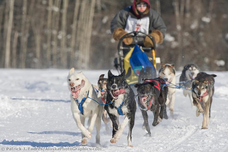 Musher Josh Cadzow, 2007 Open North American Championship sled dog race (the world's premier sled dog sprint race) is held annually in Fairbanks, Alaska.