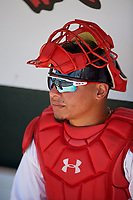 Florida Fire Frogs catcher William Contreras (27) before a Florida State League game against the Jupiter Hammerheads on April 11, 2019 at Osceola County Stadium in Kissimmee, Florida.  Jupiter defeated Florida 2-0.  (Mike Janes/Four Seam Images)