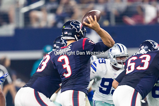 Dallas Cowboys and Houston Texans in action during the pre-season game between the Houston Texans and the Dallas Cowboys at the AT & T stadium in Arlington, Texas.