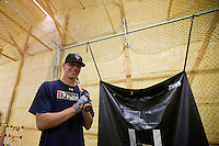Brandon Nimmo poses for a portrait inside a batting cage that occupies the family's 2688 sq. ft. barn on Tuesday, June 21, 2011, in Cheyenne, Wyo. The New York Mets recently selected Nimmo at No. 13 overall in the 2011 MLB draft. (Photo by James Brosher)