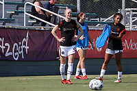 CARY, NC - SEPTEMBER 12: Becky Sauerbrunn #4 of the Portland Thorns FC warms up before a game between Portland Thorns FC and North Carolina Courage at Sahlen's Stadium at WakeMed Soccer Park on September 12, 2021 in Cary, North Carolina.