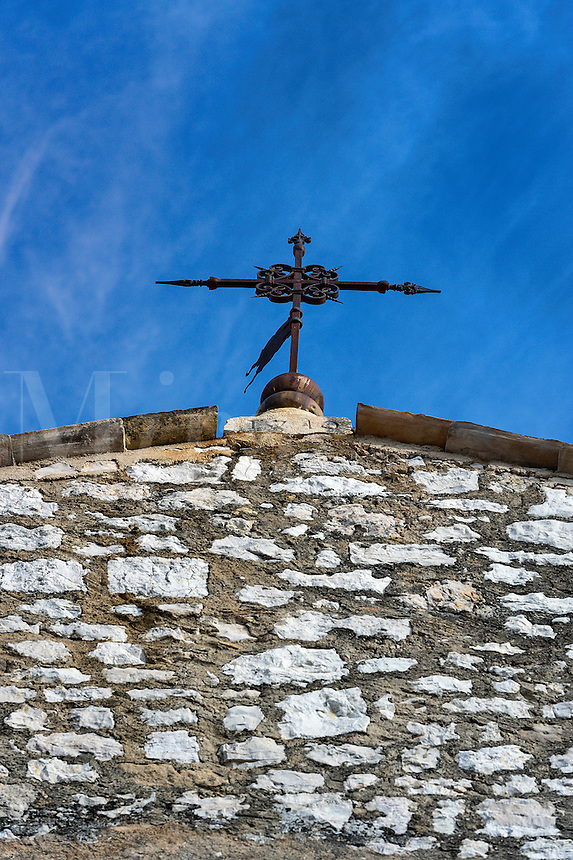 Ancient cross atop St Pauls church, Saint Paul de Vence, Provence, France
