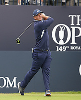 14th July 2021; The Royal St. George's Golf Club, Sandwich, Kent, England; The 149th Open Golf Championship, practice day; Bryson Dechambeau (USA) watches his tee shot on the opening hole