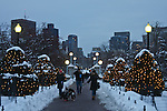 Winter evening in the Boston Public Garden, MA
