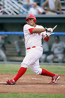 June 29th, 2007:  Steve Gonzalez of the Batavia Muckdogs, Short-Season Class-A affiliate of the St. Louis Cardinals at Dwyer Stadium in Batavia, NY.  Photo by:  Mike Janes/Four Seam Images