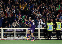 Calcio, Serie A: Fiorentina vs Juventus. Firenze, stadio Artemio Franchi, 24 aprile 2016.<br /> Fiorentina's Nikola Kalinic, left, celebrates with teammate Marcos Alonso after scoring during the Italian Serie A football match between Fiorentina and Juventus at Florence's Artemio Franchi stadium, 24 April 2016. <br /> UPDATE IMAGES PRESS/Isabella Bonotto