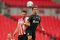 Sam Hoskins of Northampton Town wins the header during the Sky Bet League 2 PLAY-OFF Final match between Exeter City and Northampton Town at Wembley Stadium, London, England on 29 June 2020. Photo by Andy Rowland.