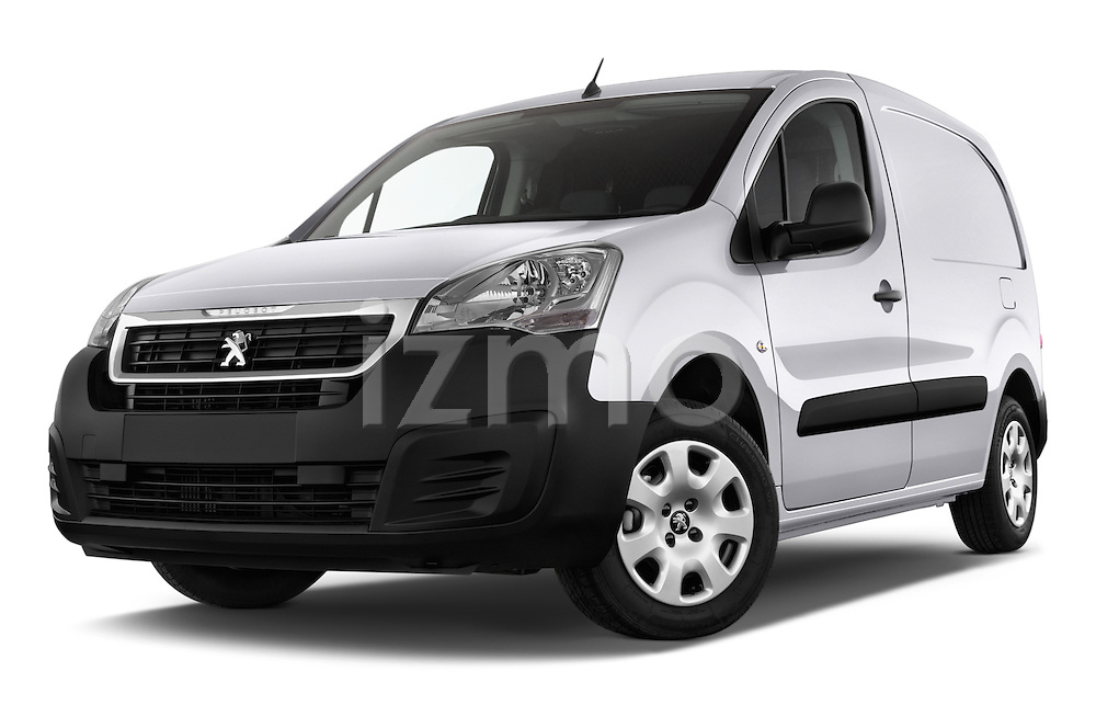 Stock pictures of low aggressive front three quarter view of 2015 Peugeot Partner - 4 Door Car Van Low Aggressive