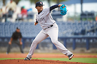 Tampa Yankees relief pitcher Jose Mesa (52) delivers a pitch during the first game of a doubleheader against the Charlotte Stone Crabs on July 18, 2017 at Charlotte Sports Park in Port Charlotte, Florida.  Charlotte defeated Tampa 7-0 in a game that was originally started on June 29th but called to inclement weather.  (Mike Janes/Four Seam Images)