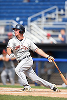 Connecticut Tigers third baseman Joey Pankake (46) at bat during the second game of a doubleheader against the Batavia Muckdogs on July 20, 2014 at Dwyer Stadium in Batavia, New York.  Connecticut defeated Batavia 2-0.  (Mike Janes/Four Seam Images)