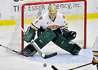 3 December 2011: University of Vermont Catamount goaltender John Vazzano, a Senior from Trumbull, CT, making his first college career start, in third period action against the University of Maine Black Bears at Gutterson Fieldhouse in Burlington, Vermont. The Catamounts fell to the Black Bears 5-2 in the second game of their 2-game Hockey East weekend series. Mandatory Credit: Ed Wolfstein Photo