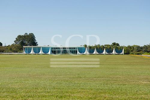 Brasilia, Brazil. Palacio da Alvorada (Palace of the Dawn). The Presidential Palace, designed by Oscar Niemeyer.