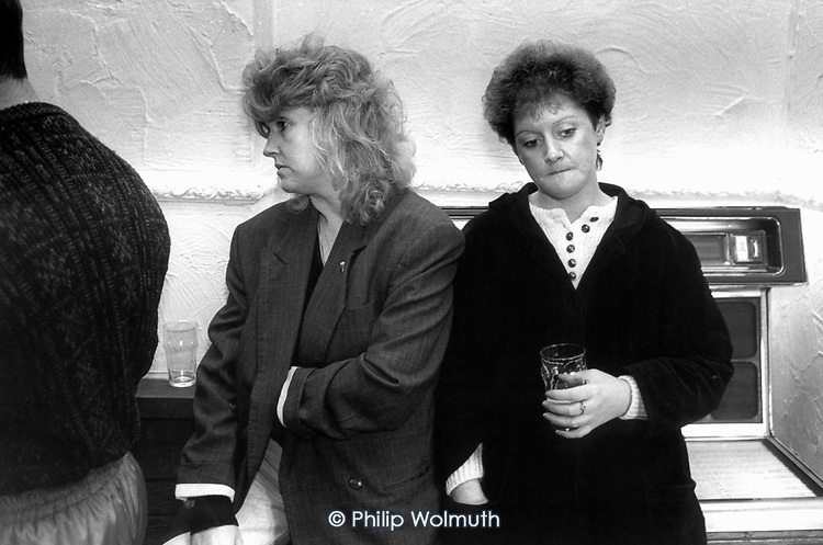 Women drinking in the Grimethorpe pub, opposite the site of the South Yorkshire village's closed colliery.