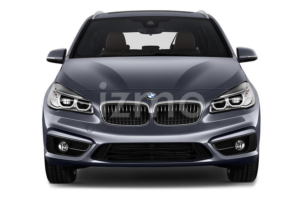 Car photography straight front view of a 2017 BMW 2-Series-Active-Tourer Luxury 5 Door Mini MPV Front View