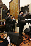 Israel, Bnei Brak. The Synagogue of the Premishlan congregation, Simchat Torah (on the eights day of Succot), Hasidic band<br />