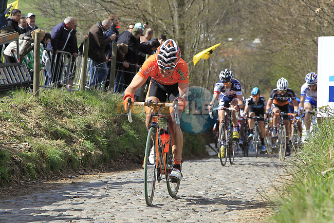 The tail end of the peloton including Pablo Urtasun Perez (ESP) Euskaltel-Euskadi climbs Koppenberg during the 96th edition of The Tour of Flanders 2012, running 256.9km from Bruges to Oudenaarde, Belgium. 1st April 2012. <br /> (Photo by Eoin Clarke/NEWSFILE).