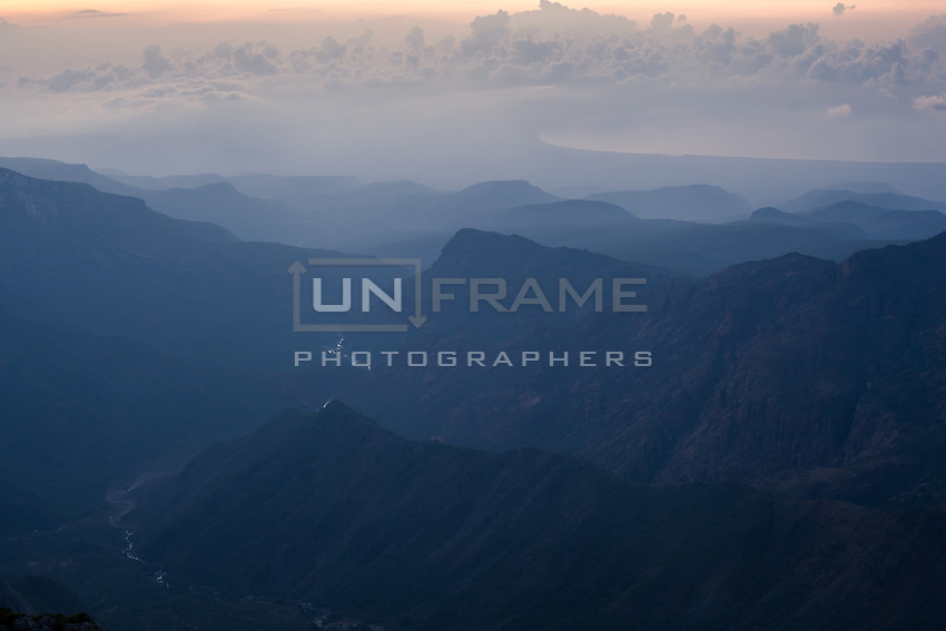 View at dusk of the north coast from Skand, the highest area of the island (1525 m), in the Haghier mountains.