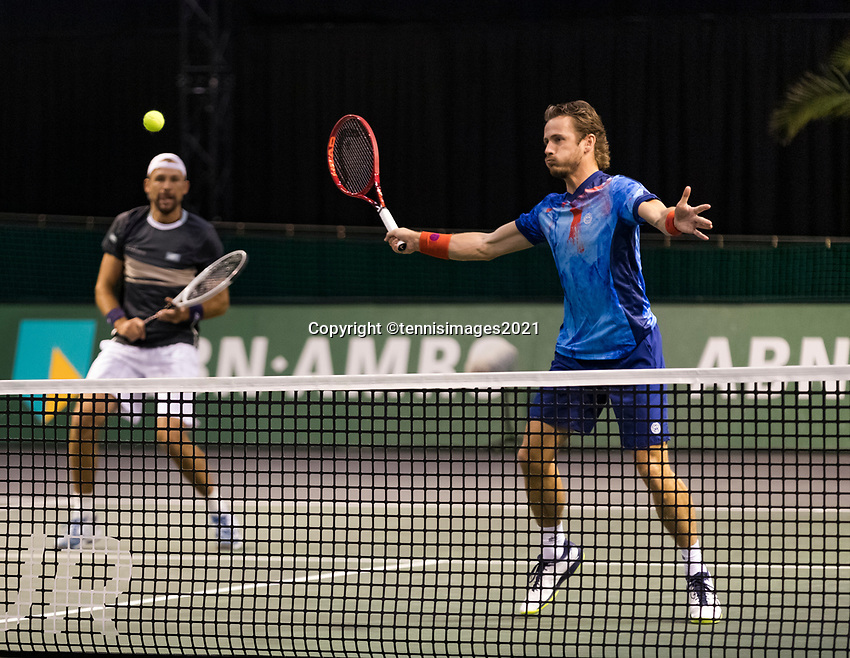 Rotterdam, The Netherlands, 3 march  2021, ABNAMRO World Tennis Tournament, Ahoy, First round doubles: Wesley Koolhof (NED) / Lukasz Kubot (POL).<br /> Photo: www.tennisimages.com/henkkoster