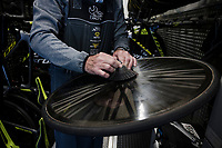 race preparations: mechanics at work the TT-bikes at Team Mitchelton-Scott ahead of the 102nd Giro d'Italia 2019<br /> <br /> ©kramon
