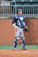 Akron Zips catcher Brian Lees (16) on defense against the Charlotte 49ers at Hayes Stadium on February 22, 2015 in Charlotte, North Carolina.  The Zips defeated the 49ers 5-4.  (Brian Westerholt/Four Seam Images)