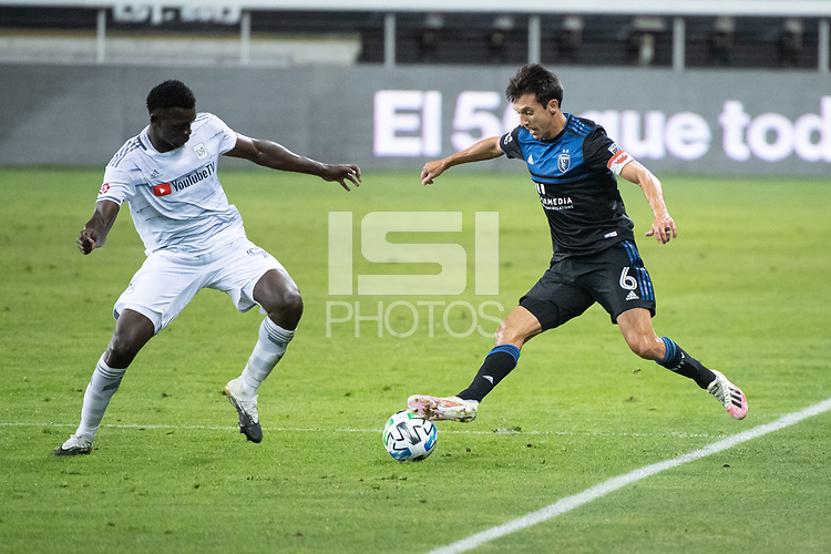SAN JOSE, CA - NOVEMBER 04: Jesus David Murillo #94 of the Los Angeles FC battles for the ball with Shea Salinas #6 of the San Jose Earthquakes during a game between Los Angeles FC and San Jose Earthquakes at Earthquakes Stadium on November 04, 2020 in San Jose, California.