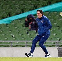 27th March 2021; Aviva Stadium, Dublin, Leinster, Ireland; 2022 World Cup Qualifier, Ireland versus Luxembourg; Republic of Ireland coach Keith Andrews gets animated as ise team leaks a goal