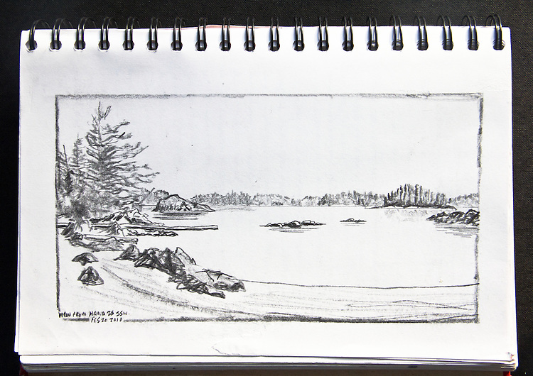 Barkley Sound, Vancouver Island, Hand Island, Journal Art 2010, charcoal on paper,, Joel Rogers,