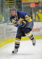 16 February 2008: Merrimack College Warriors' defenseman Grant Farrell, a Junior from Calgary, Alberta, in action against the University of Vermont Catamounts at Gutterson Fieldhouse in Burlington, Vermont. The Catamounts defeated the Warriors 2-1 for their second win of the 2-game weekend series...Mandatory Photo Credit: Ed Wolfstein Photo