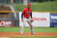 Jacksonville Jumbo Shrimp third baseman Justin Twine (2) during a Southern League game against the Mississippi Braves on May 4, 2019 at Trustmark Park in Pearl, Mississippi.  Mississippi defeated Jacksonville 2-0.  (Mike Janes/Four Seam Images)